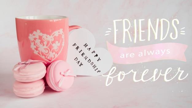 Evento del día de la amistad con taza
