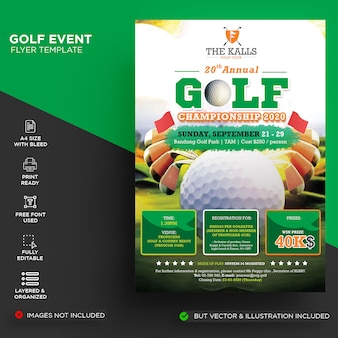 Evento de golf / folleto de torneo