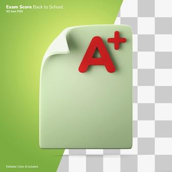 Examen papier en een plus score 3d-rendering pictogram bewerkbare kleur geïsoleerd
