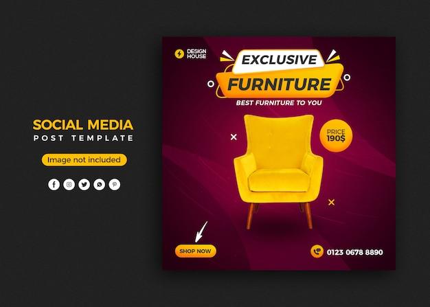 Exclusief meubilair sociale media post sjabloonontwerp voor spandoek