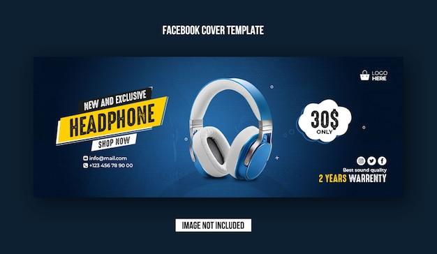 Exclusieve koptelefoon facebook omslagsjabloon voor spandoek