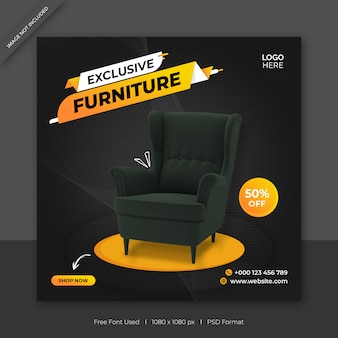 Exclusieve meubelverkoop sociale media facebook post vierkante sjabloon voor spandoek