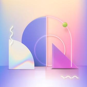 Exhibición de producto holográfica en 3d con anillos de neón