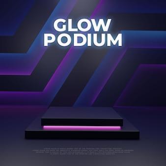 Exhibición del producto del podio moderno que brilla intensamente oscuro