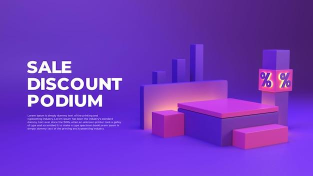 Exhibición de promoción de producto de podio realista en 3d