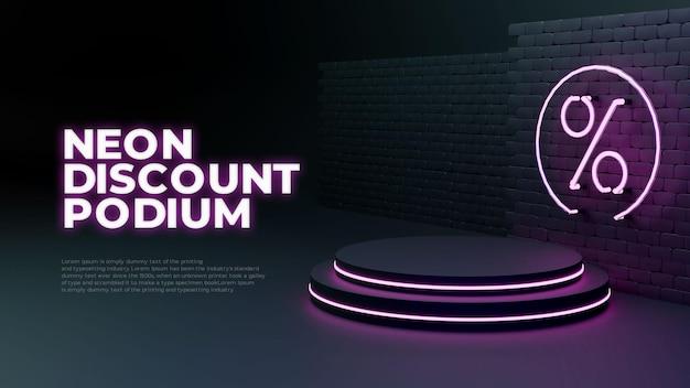 Exhibición realista del promo del producto del podio de la venta del resplandor de la luz de neón 3d