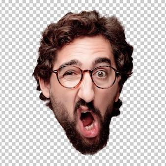 Expresión barbuda joven loca de la cabeza del recorte del hombre aislada. papel de hipster con gafas de vista