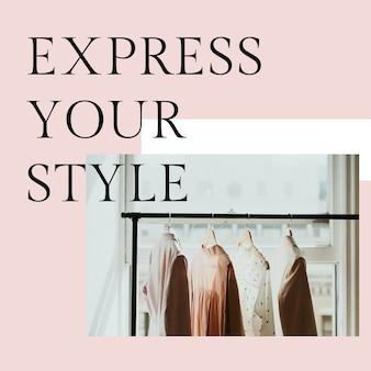 Express uw stijl postsjabloon psd voor mode
