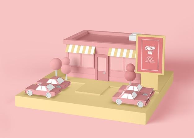 Exterieur advertentie winkel op concept