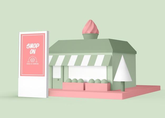 Exterieuradvertentie voor dessertwinkel