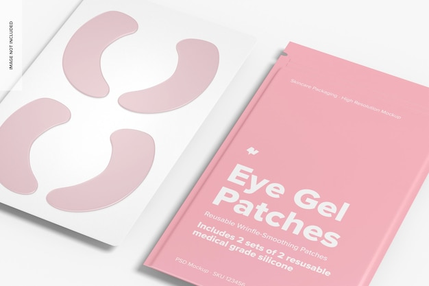 Eye gel patches verpakking mockup, close-up