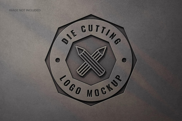 Fabricage metalen logo mockup-ontwerp