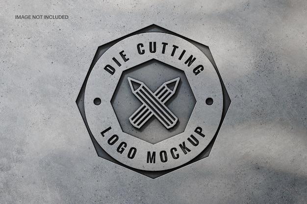Fabricage van betonnen logo mockup-ontwerp