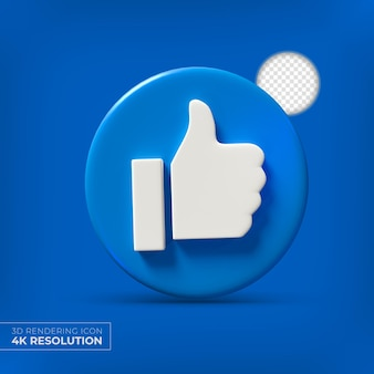 Facebook 3d like knop geïsoleerd