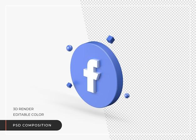 Facebook 3d-rendering logo-applicatie