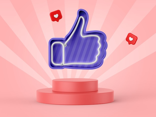 Facebook-achtige icoon in 3d-rendering