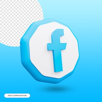 Facebook app pictogram geïsoleerd in 3d-rendering