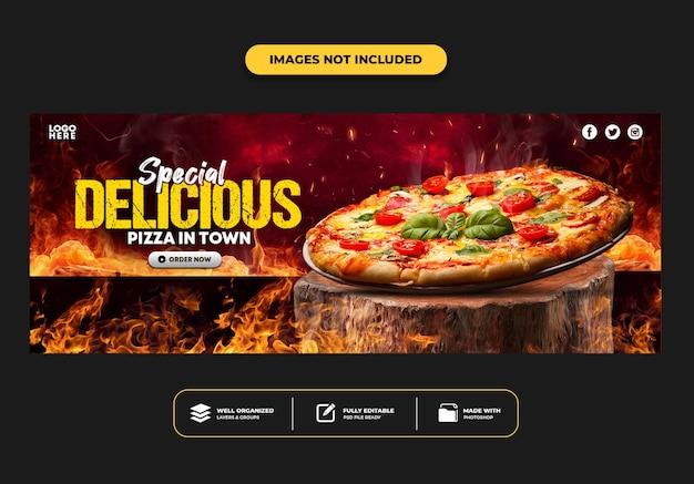 Facebook cover post-sjabloon voor spandoek voor restaurant fastfood menu pizza