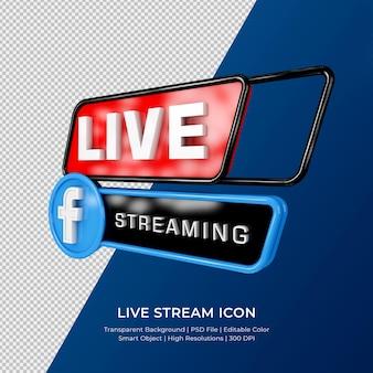 Facebook live streaming 3d render pictogram badge geïsoleerd