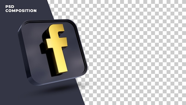 Facebook logo 3d minimaal eenvoudig ontwerp rendering geïsoleerd