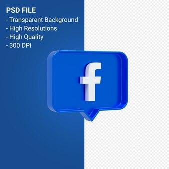 Facebook-logo bij 3d-weergave geïsoleerd melden