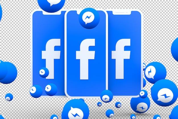 Facebook messenger-pictogram op scherm smartphone of mobiel en facebook messenger-reacties houden van 3d render