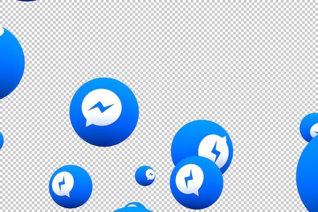 Facebook messenger-pictogram op schermsmartphone of mobiele en facebook-messengerreacties houden van 3d render