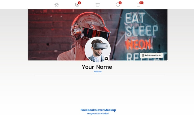 Facebook-omslagfoto mockup echte stijl