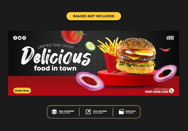 Facebook omslagpost bannersjabloon voor restaurant fastfood menu burger