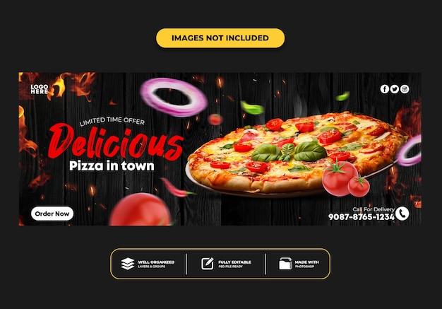 Facebook omslagpost bannersjabloon voor restaurant fastfood menu pizza