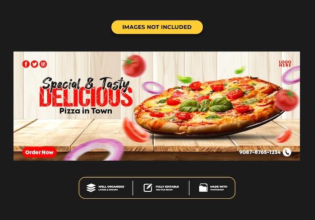 Facebook-omslagpostbannersjabloon voor restaurant fastfood menu pizza