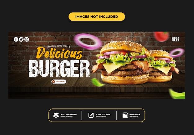 Facebook-omslagpostbannersjabloon voor restaurant fastfood menuburger