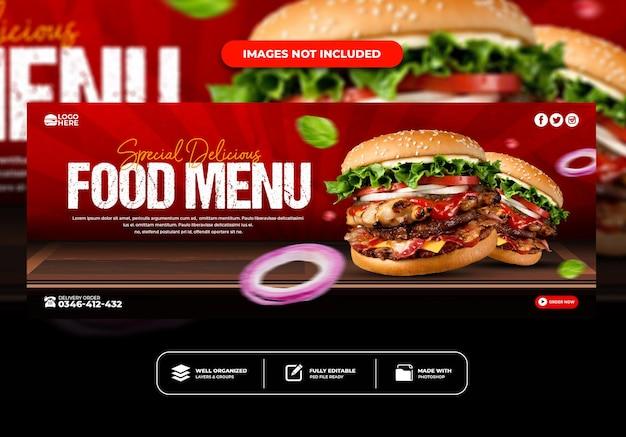 Facebook omslagpostbannersjabloon voor restaurantmenu