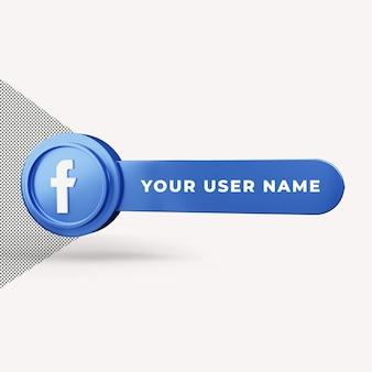 Facebook-pictogram gebruikersnaam plaatsen 3d render