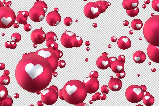 Facebook reacties hart emoji 3d render op transparante achtergrond, sociale media ballonsymbool met hart