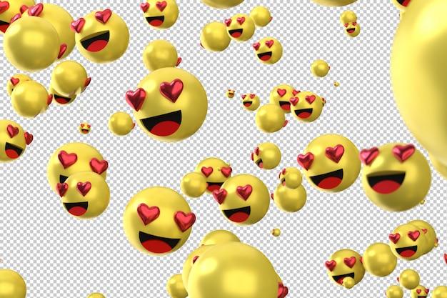 Facebook-reacties houden van emoji 3d render, sociale media ballonpictogram met hart
