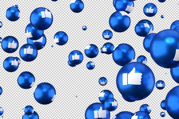 Facebook-reacties zoals emoji 3d render op transparante achtergrond, sociale media ballonsymbool met like