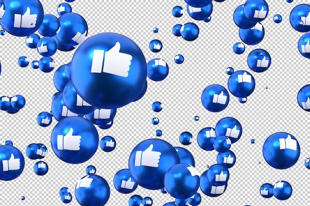 Facebook-reacties zoals emoji 3d render, pictogram voor sociale media-ballon met like