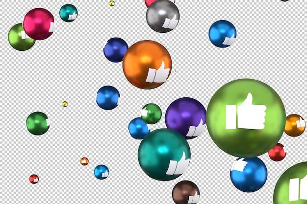 Facebook-reacties zoals emoji 3d render, sociale media ballonsymbool met like