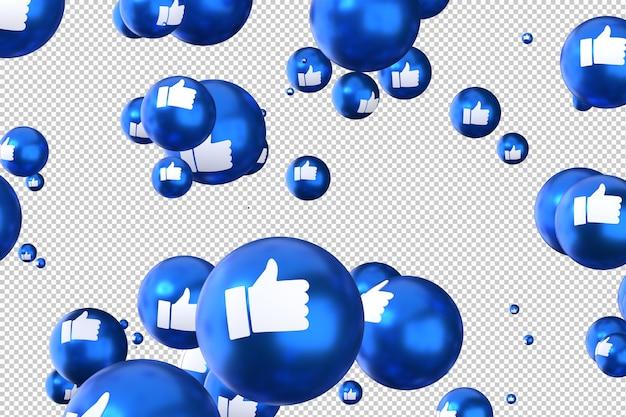 Facebook-reacties zoals emoji 3d render