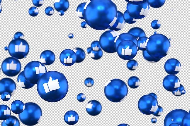 Facebook-reacties zoals emoji 3d renderen op transparante achtergrond, sociale media ballonsymbool met like