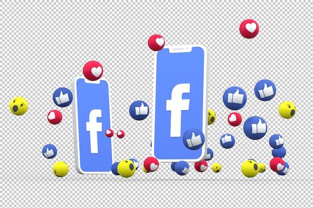 Facebook-symbool op het scherm smartphone of mobiel en facebook reacties liefde, wauw, zoals emoji 3d render
