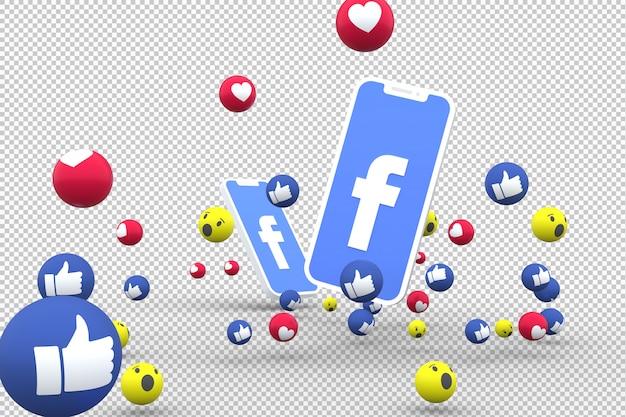 Facebook-symbool op het scherm smartphone of mobiel en facebook reacties liefde, wauw, zoals emoji 3d render Premium Psd