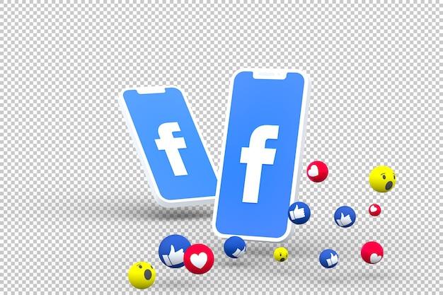 Facebook-symbool op het scherm van smartphone of mobiel en facebook-reacties