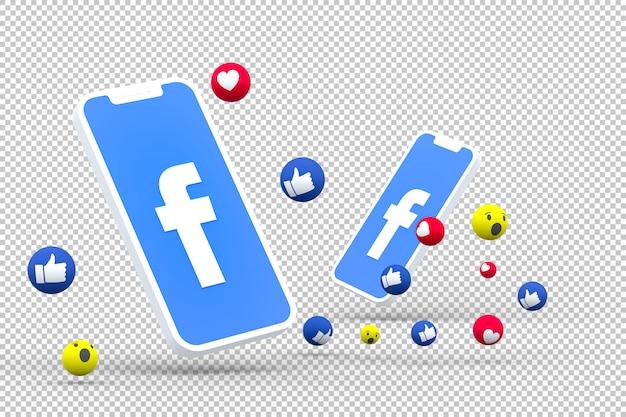 Facebook-symbool op scherm smartphone of mobiel en facebook reacties liefde, wow, zoals emoji 3d render