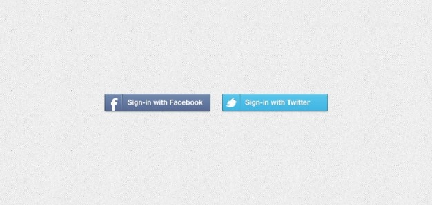 Facebook &; twitter inloggen knoppen psd