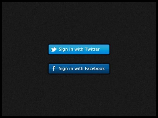 Facebook twitter signo en los botones