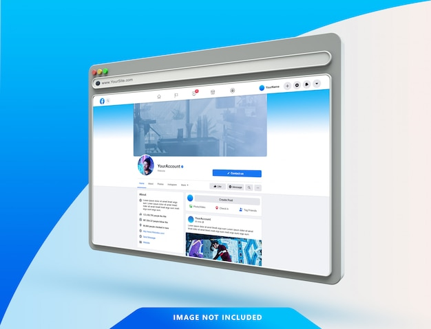 Facebook ui-sjabloon op 3d-webbrowser-mockup