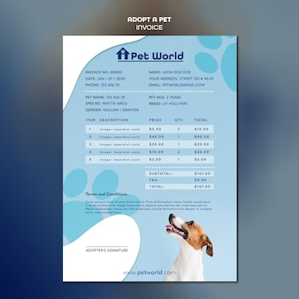Factuurbetaling voor adoptie van huisdier met hond