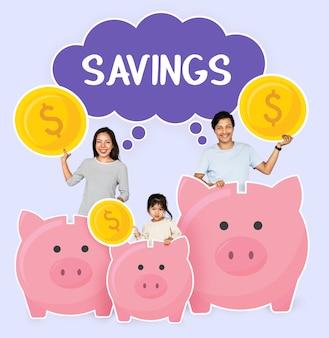 Famiglia felice con risparmi per il loro futuro